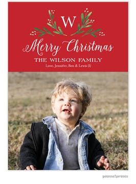 Merry Monogram Red Flat Holiday Photo Card