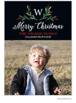 Merry Monogram Black Flat Holiday Photo Card