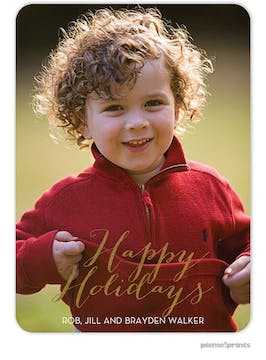 Foil Happy Holidays Flat Holiday Photo Card