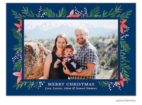 Berries & Blooms Navy Flat Holiday Photo Card