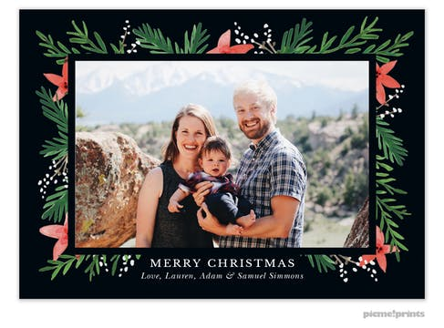 Berries & Blooms Black Flat Holiday Photo Card