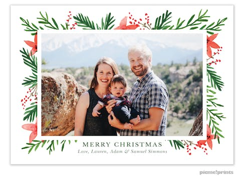 Berries & Blooms White Flat Holiday Photo Card