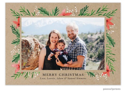 Berries & Blooms Kraft Flat Holiday Photo Card