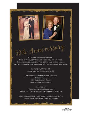Foil Framed 50th Anniversary Invitation