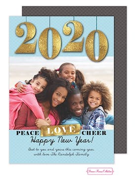 Peace, Love, Cheer (Blue) Flat Photo Card