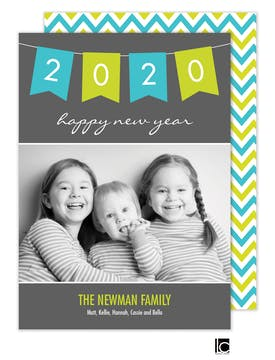 Turquoise and green banner New Year Flat Photo Card