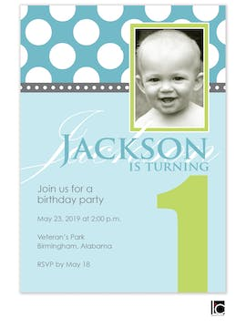 Blue and green birthday photo invitation