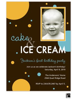 Cake & Ice Cream girl birthday photo invitation