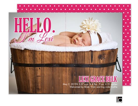 Hello Girl Photo Birth Announcement