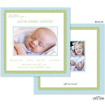 blue and lime green Photo Square Birth Announcement