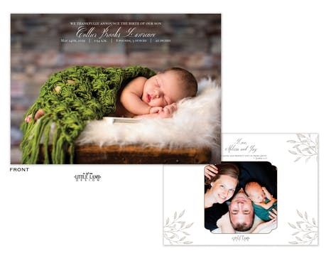 Modern Baby Photo Birth Announcement