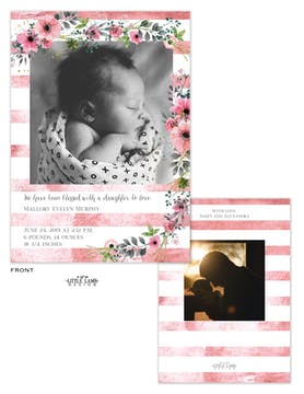 Blossoming Baby Photo Birth Announcement