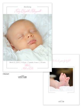 Simply Baby Girl Photo Birth Announcement