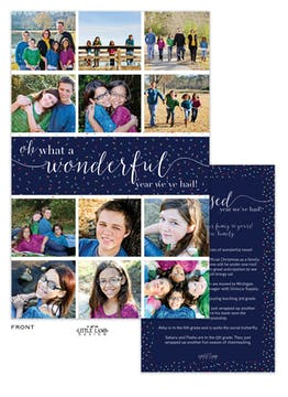 Wonderful Year Review Flat Holiday Photo Card