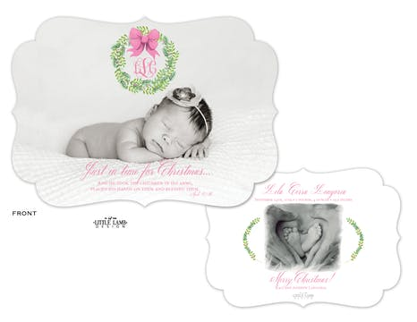 Pink Bow Evergreen Wreath Holiday Photo Card