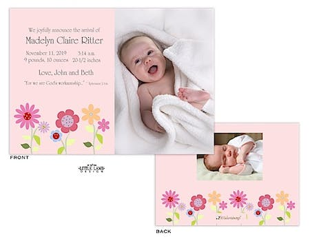 Fun flowers Girl Photo Birth Announcement