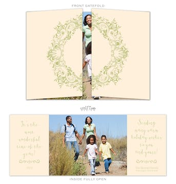 Gatefold Wreath Folded Holiday Photo Card