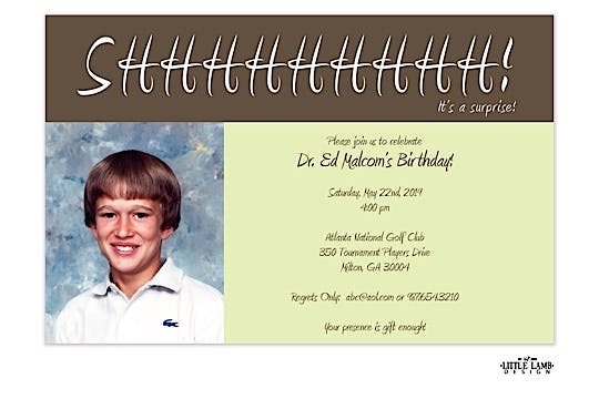 Surprise Party Photo Invitation in Brown and Green with Card