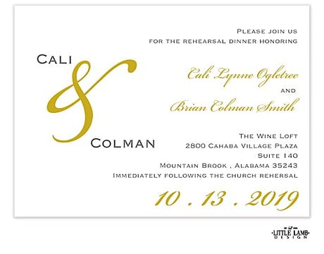Traditional Gold & Gray Invitation