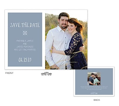Blue Gray Love Photo Save The Date Card