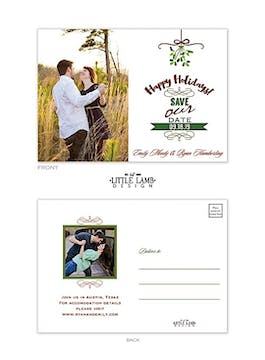Mistletoe Love Photo Save The Date Postcard