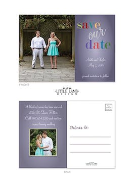 Fun Colors Photo Save The Date Postcard
