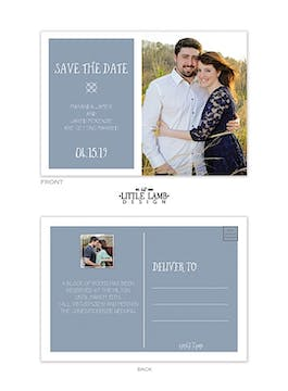 Blue Gray Love Photo Save The Date Postcard
