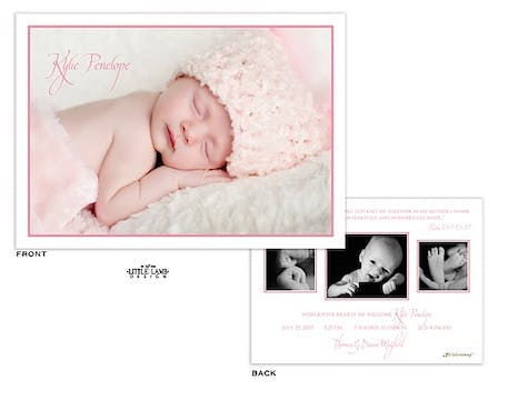 Simply elegant pink Girl Photo Birth Announcement