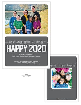 Mod Gray New Years Flat Photo Card