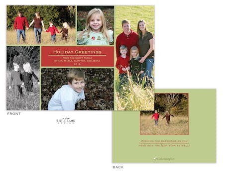 Red and green Holiday Flat Photo Card