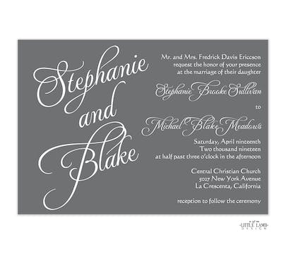 Grey Calligraphic Names Invitation