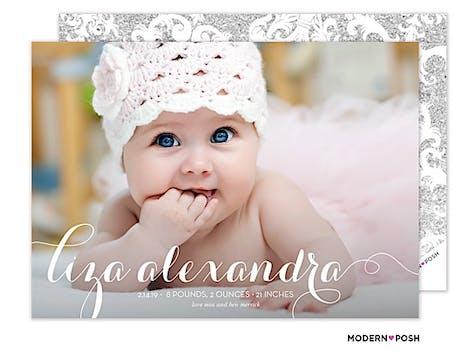 Baby Script Photo Birth Announcement