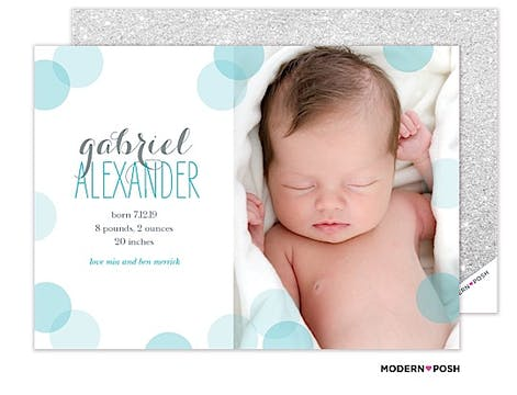 Baby Confetti Blue Photo Birth Announcement