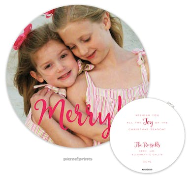 Merry! Flat Round Holiday Photo Card