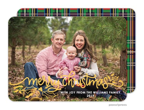Christmas Plaid Foil Pressed Holiday Photo Card