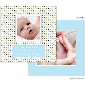Cosmoholidots Blue Boy Photo Square Birth Announcement