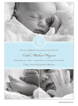 Baby Steps Powder Boy Photo Birth Announcement