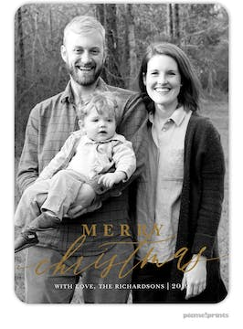Foil Merry Christmas Calligraphy Flat Holiday Photo Card