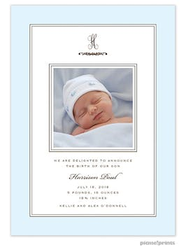 Lovely Baby Blue Boy Photo Birth Announcement