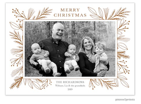Foil Garland Border White Flat Holiday Photo Card