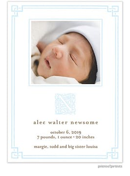 Peekaboo Border Tall Baby Blue Boy Photo Birth Announcement