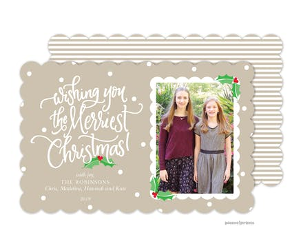 Dots, Stripes & Holly Tan Holiday Photo Card