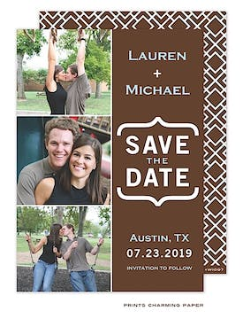 Modern Three Photo Save The Date