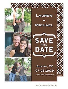 Modern Three Photo Save The Date