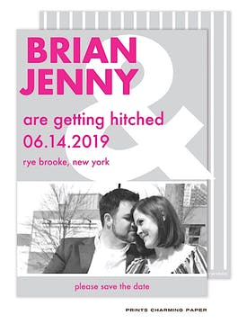 Pink and Gray Ampersand Photo Save The Date