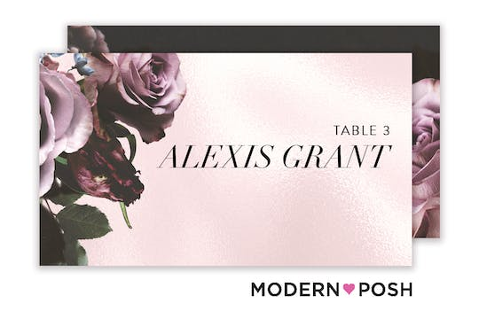 Midnight Floral Flat Placecard
