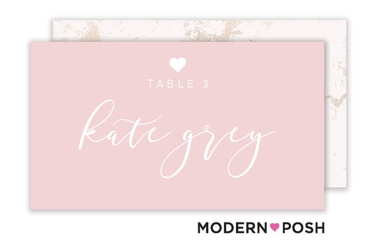 Modern Heart Placecard