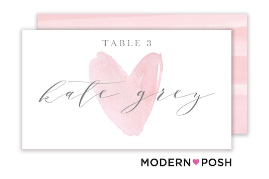 Watercolor Heart Flat Placecard