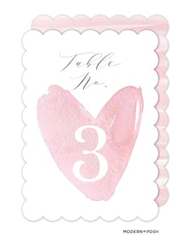 Watercolor Heart Table Card