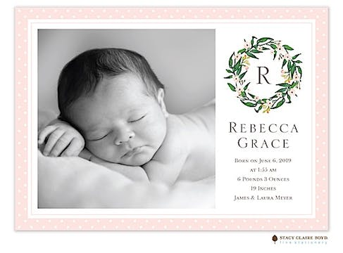 Tiny Crown Photo Birth Announcement